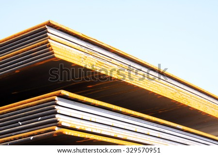 Steel plate in a goods yard, closeup of photo