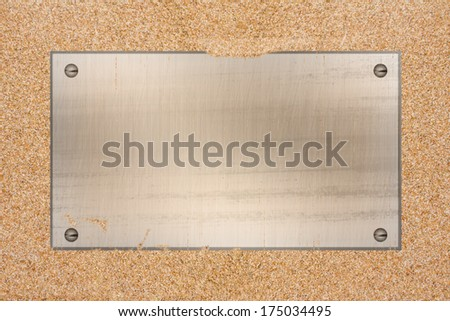 steel plate on sand background