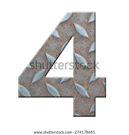 steel plate texture of number four on white background