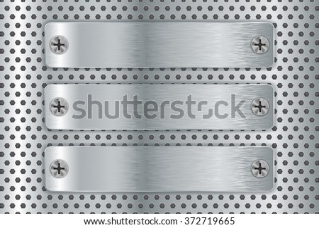 Steel plate with screw head on metal background.  Illustration. Raster version. - stock photo