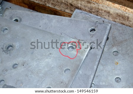 Steel plates bunch in the pallet - stock photo