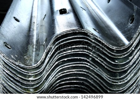 Steel plates bunch in warehouse after hot-dip galvanized - stock photo