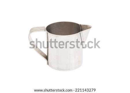 Steel pot isolated on white - stock photo