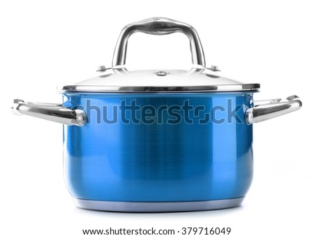 Steel pot isolated on white background.