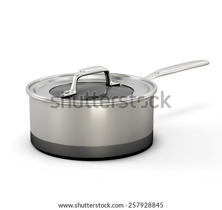 steel pot with a handle on a white background. 3d illustration. Metal stewpot. - stock photo