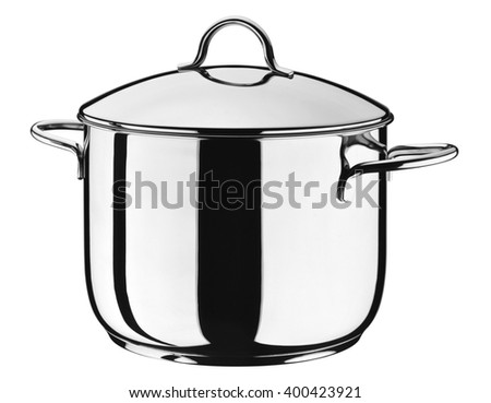 Steel pot with lid isolated on white - stock photo