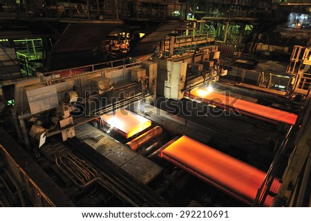 steel production at steel mill - stock photo