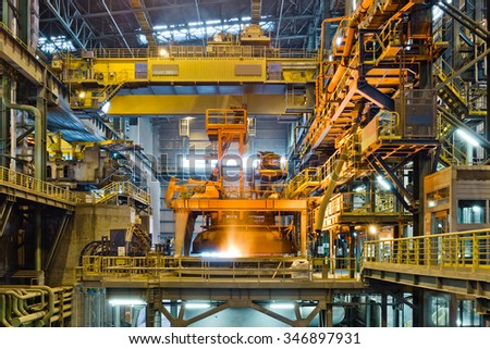 Steel production at the metallurgical plant - stock photo