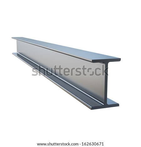 steel profile I Isolated on White Background - stock photo