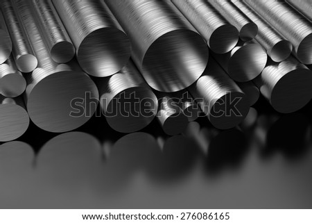 Steel Profiles on black background - stock photo