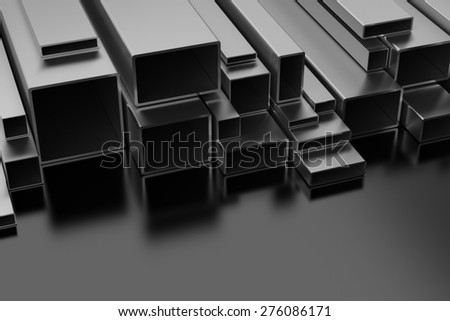 Steel Profiles on black background - stock photo