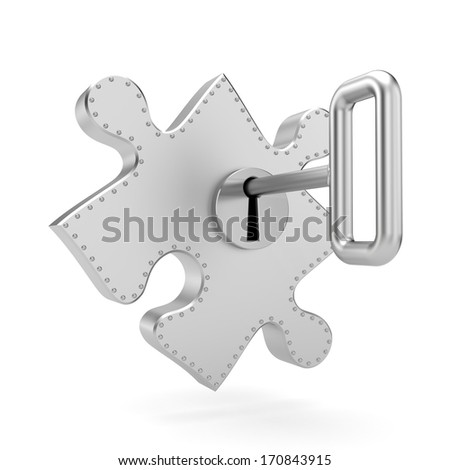 Steel puzzle with key. Security metaphor - stock photo