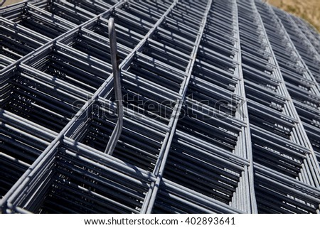 steel rebar and mesh for concrete reinforcing construction building industry  - stock photo