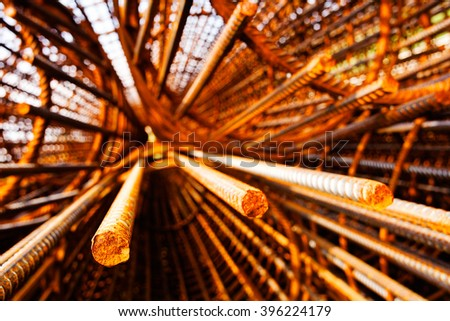 Steel rebar component; note shallow depth of field - stock photo