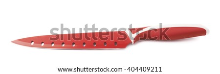 Steel red kitchen knife isolated over the white background - stock photo