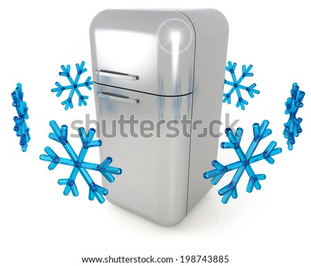 steel refrigerator and blue snowflakes on white background - stock photo