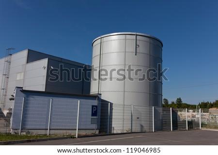 Steel  reservoir at industrial park - stock photo