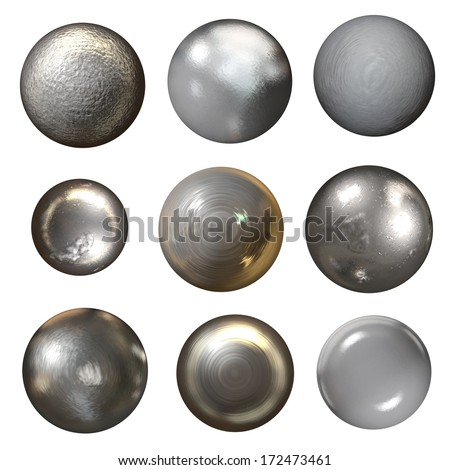 Steel rivet heads collection - isolated on white - stock photo