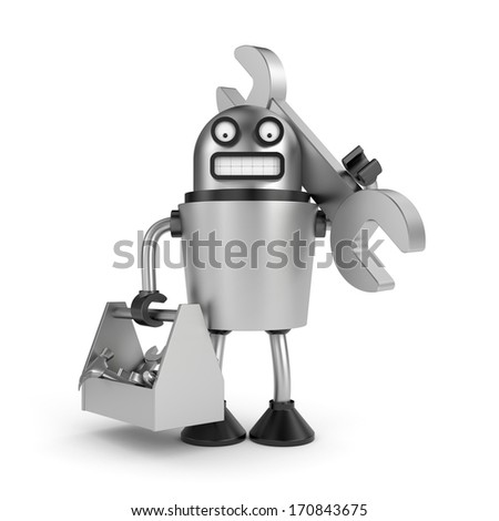 Steel Robot with toolbox - stock photo