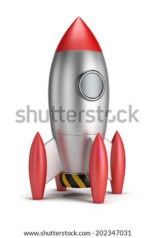 Steel rocket. 3d image. White background. - stock photo