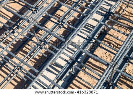 Steel rod cage structure as used for concrete shuttering - stock photo