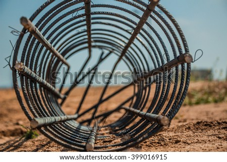 Steel rod used for poles construction with reinforce concrete at construction site. - stock photo