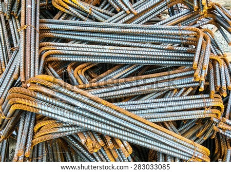 Steel rods or bars used to reinforce concrete. - stock photo