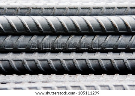 Steel rods or bars used to reinforce concrete, background - stock photo