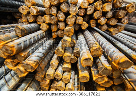 Steel rods or bars used to reinforce concrete. macro with shallow depth of field. - stock photo