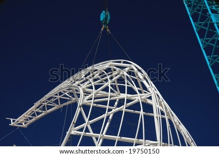 Steel roof structure for a stadium roof - stock photo