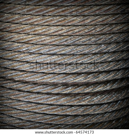 Steel rope close-up square background texture - stock photo