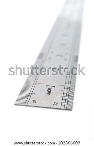 Steel ruler - stock photo