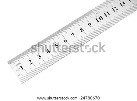 steel ruler isolated - stock photo