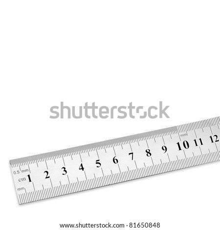 steel ruler with copy space - stock photo