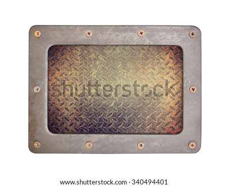 steel rust textures background plate with frame and screws - stock photo