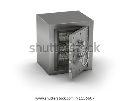 Steel Safe, half opened with money inside, on white background