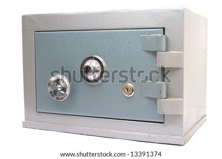 Steel Safe Home-Bank on white background . - stock photo