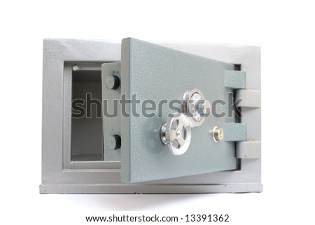 Steel Safe Home-Bank opened and empty on white background . - stock photo