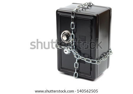 Steel safe in chains over white background, money insurance concept - stock photo