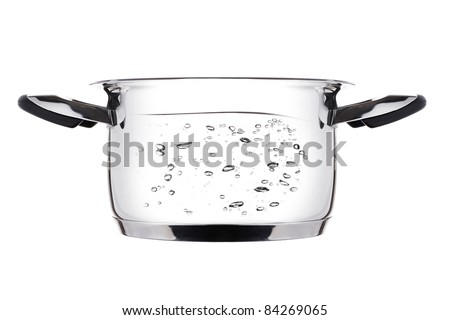 Steel saucepan boiling. Isolated on white background. - stock photo