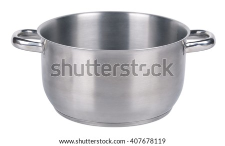 Steel saucepan, isolated on white background