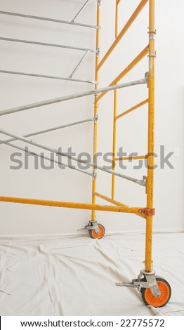 steel scaffolding assembled indoors - stock photo