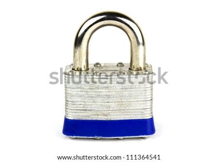 Steel security lock isolated on white - stock photo