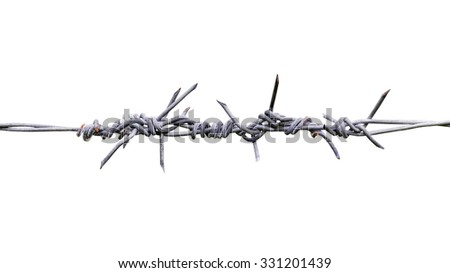 Steel sharp fence isolated on white background