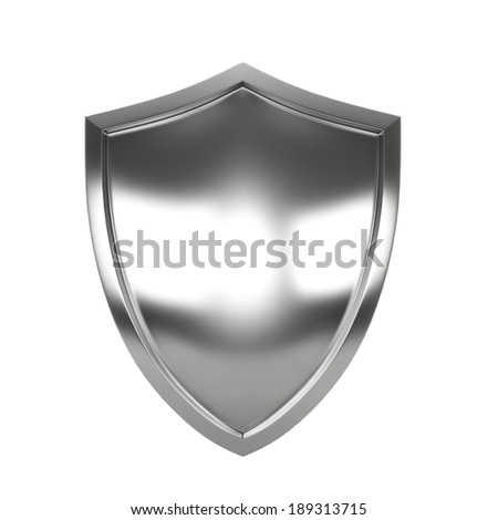 Steel shield. 3d illustration isolated on white background  - stock photo