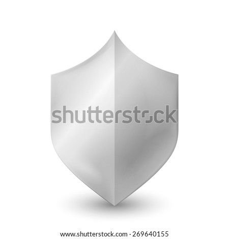 Steel shield. White shield isolated on white background. Realistic illustration. Can be used in the design. Raster copy. - stock photo
