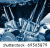 Steel shining engine of a bike - stock photo