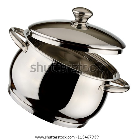 steel shiny saucepan isolated on white background - stock photo