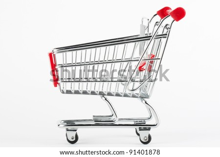Steel Shoping Cart on the white background
