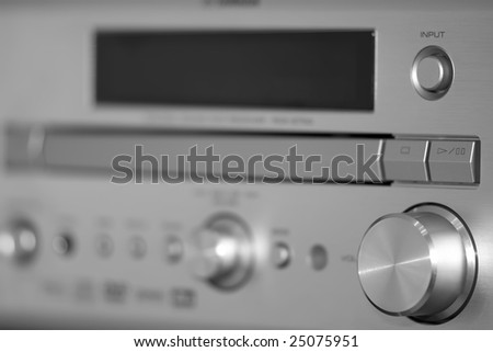 Steel silver receiver with knobs - stock photo